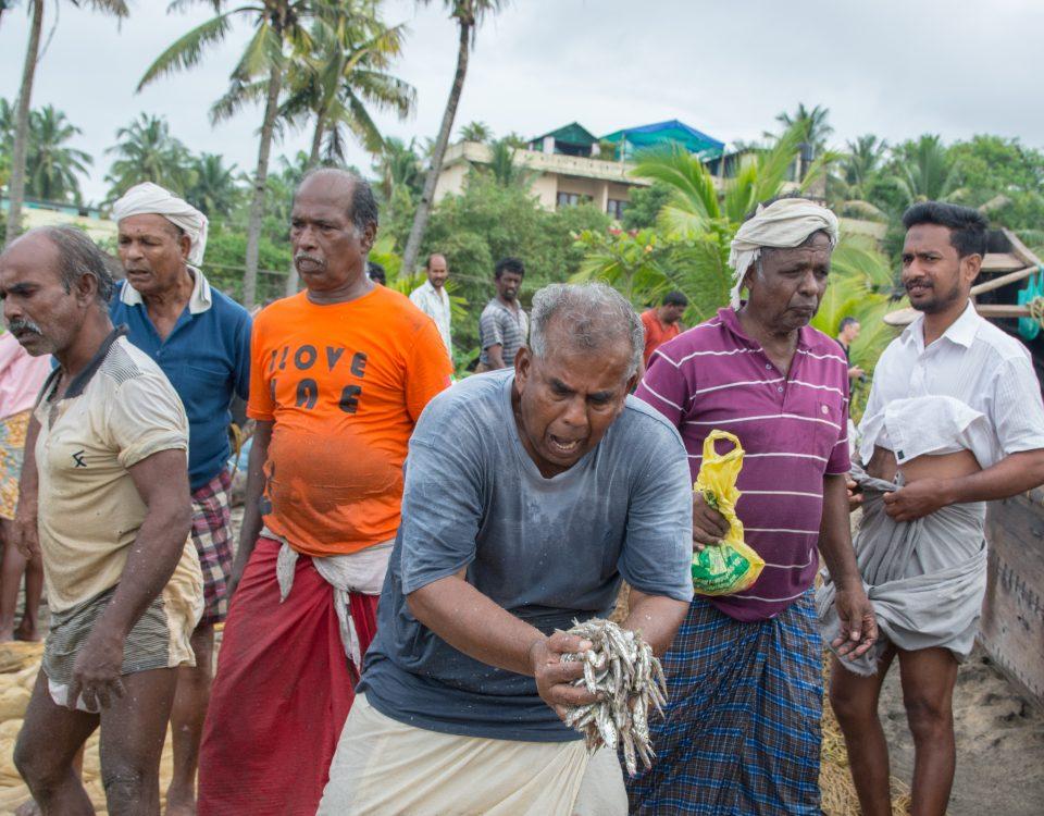 Fischer in Südindien mit Tagesfang